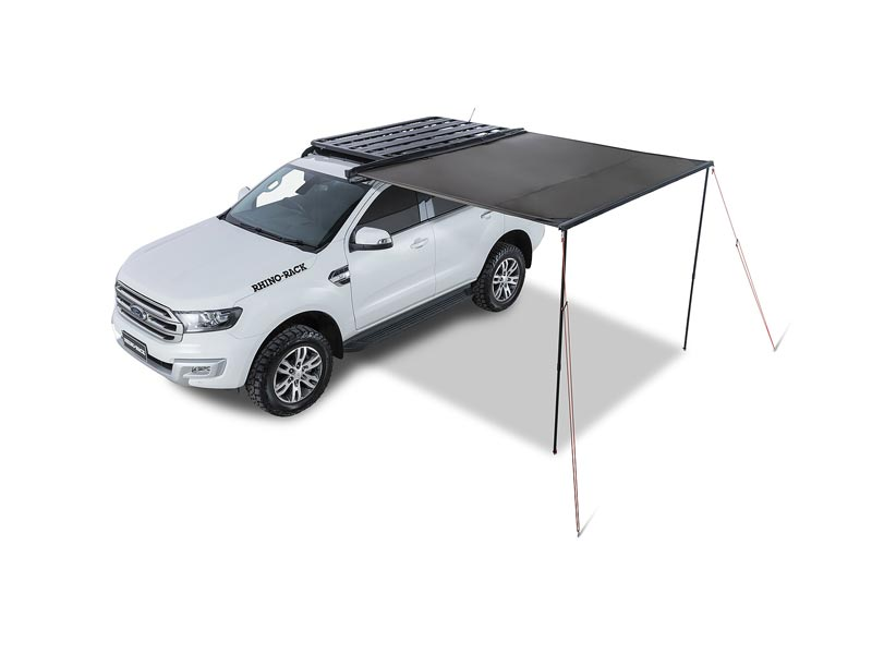 ford everest with pioneer roof rack and awning setup on left side