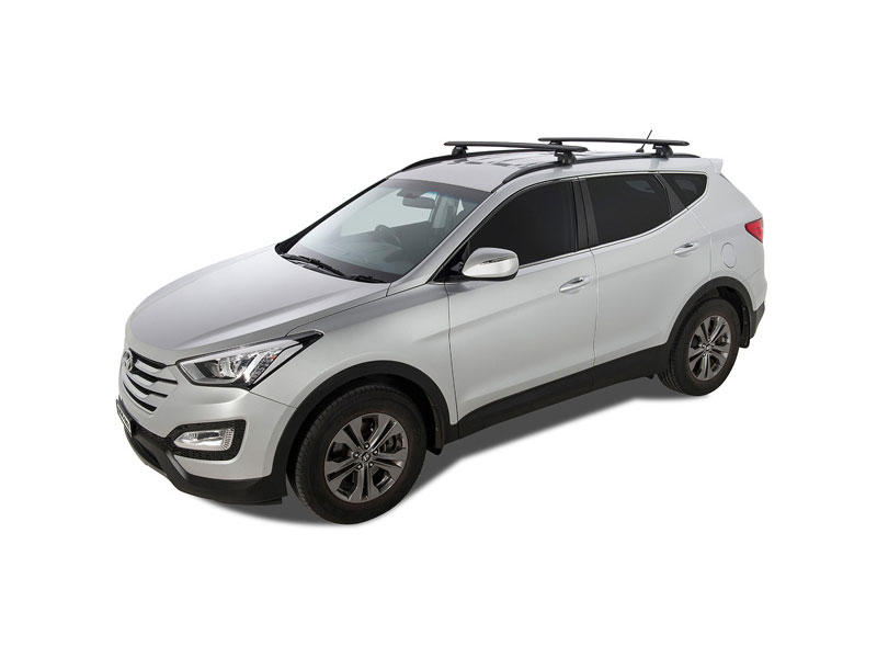 HYUNDAI Santa Fe 5dr SUV With Roof Rails 09/12 On RHINO Vortex SX Black 2  Bar Roof Rack JA1755