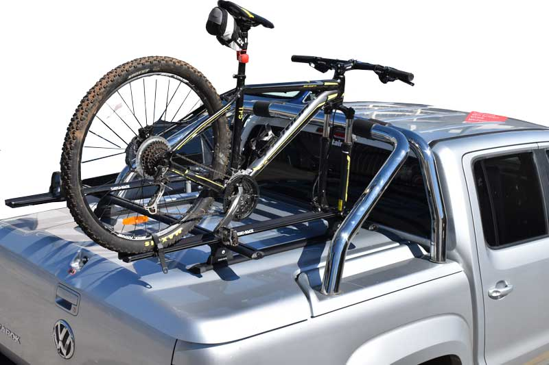 mountain bike on fork mount rack on ute lid