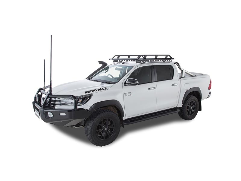toyota hilux rhino rack pioneer tradie roof rack on white dual cab