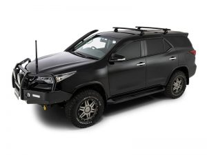 black toyota fortuner with rhino track mount vortex roof racks