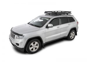 silver jeep grand cherokee with rhino pioneer tray with rcl legs