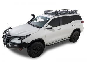 white toyota fortuner with rhino pioneer tray