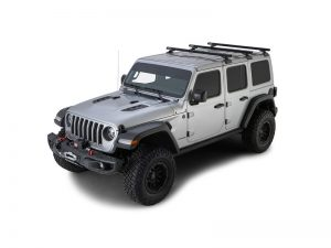 silver jeep wrangler with 3 heavy duty rcl roof racks with backbone