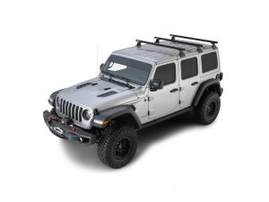 silver jeep wrangler with 3 heavy duty RLT600 roof racks with backbone
