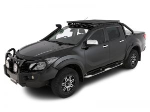 black mazda bt-50 with black backbone platform