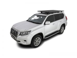 white prado 150 series with black rhino rack pioneer platform