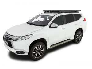 white pajero sport with backbone pioneer platform