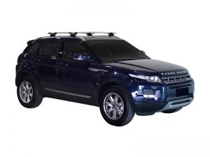blue land rover range rover evoque with whispbar through bar roof racks