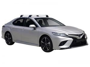 silver toyota camry with black whispbar roof racks