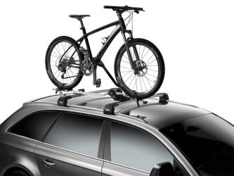 thule roof mount bike rack 598 pro ride on silver wagon with mountain bike