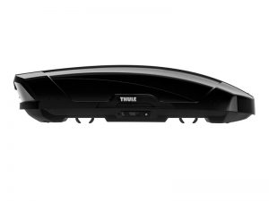 thule motion xt black gloss luggage box side shot